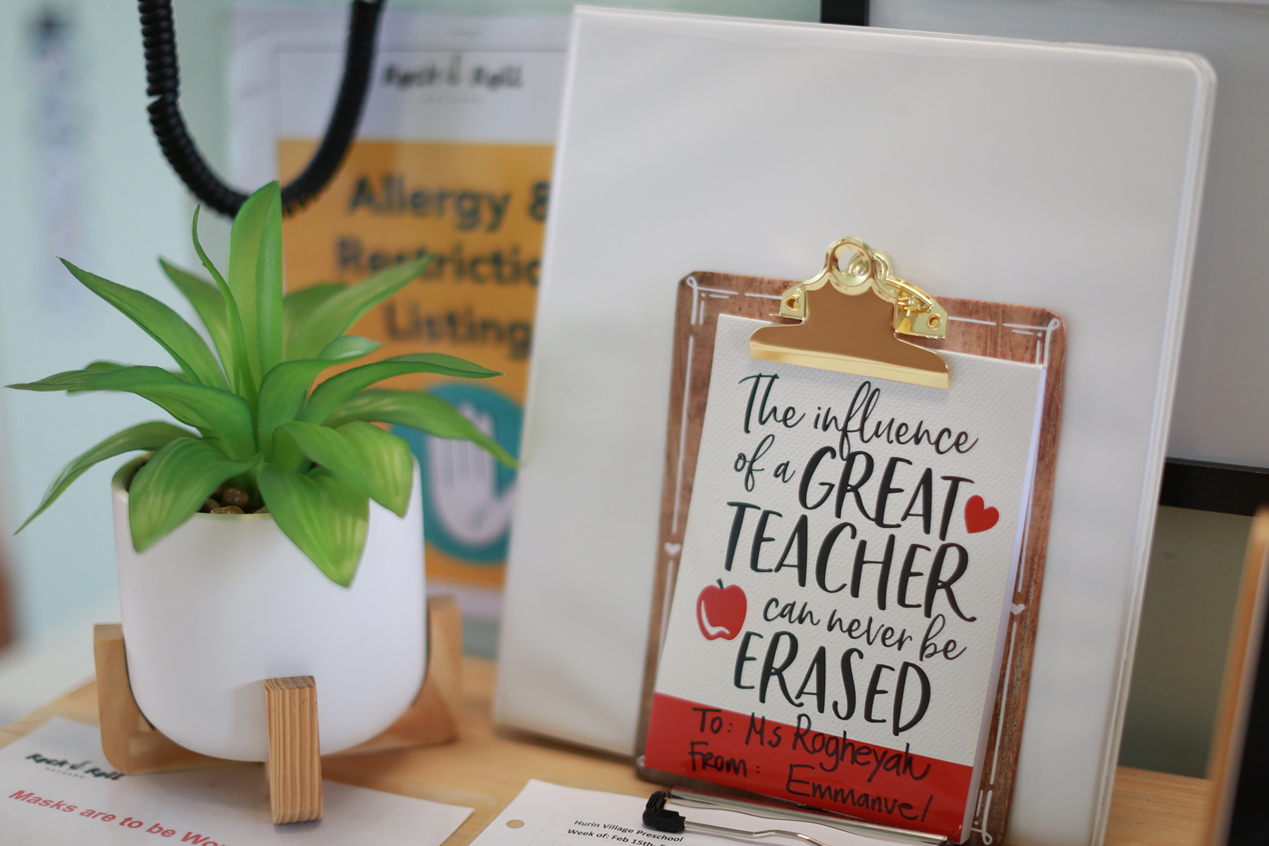 Clipboard with the influence of a Great Teacher can never be Erased